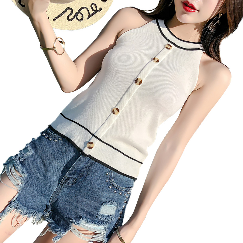 Streetwear Knitted Tank Tops Women 2018 Summer Sexy knitting Crop Top Female Button Sleeveless Vest off Shoulder Tops camisas