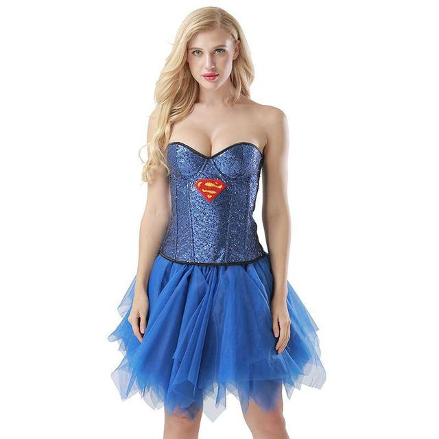 Blau Pailletten Supergirl Cosplay Kostum Frauen Halloween Party Club