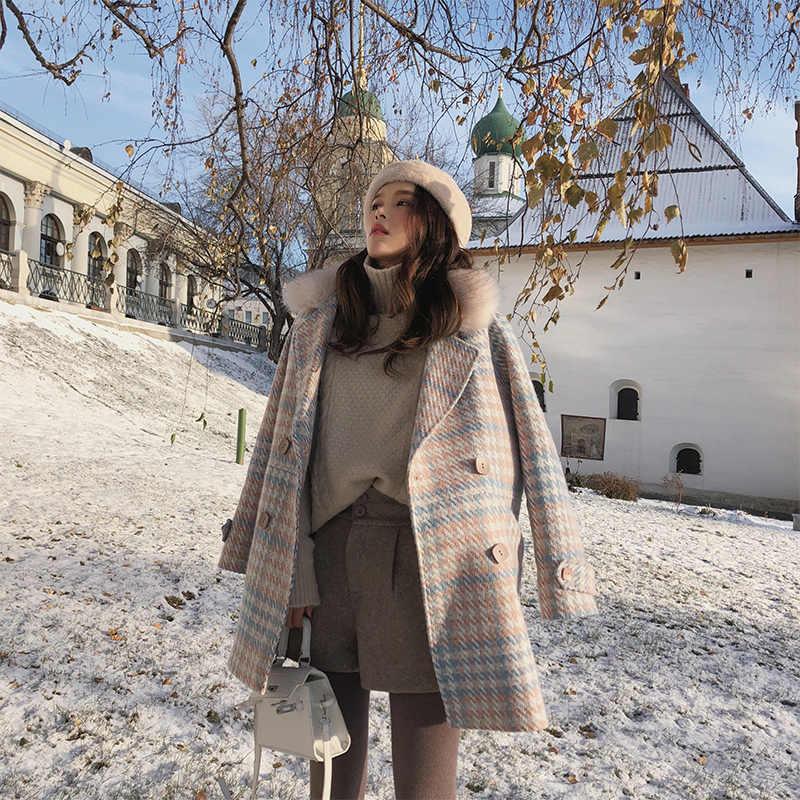 MISHOW 2019 Новый женский верхняя одежда зимняя одежда мода теплые шерстяные смеси женский элегантный двубортный шерстяное пальто MX18D9679