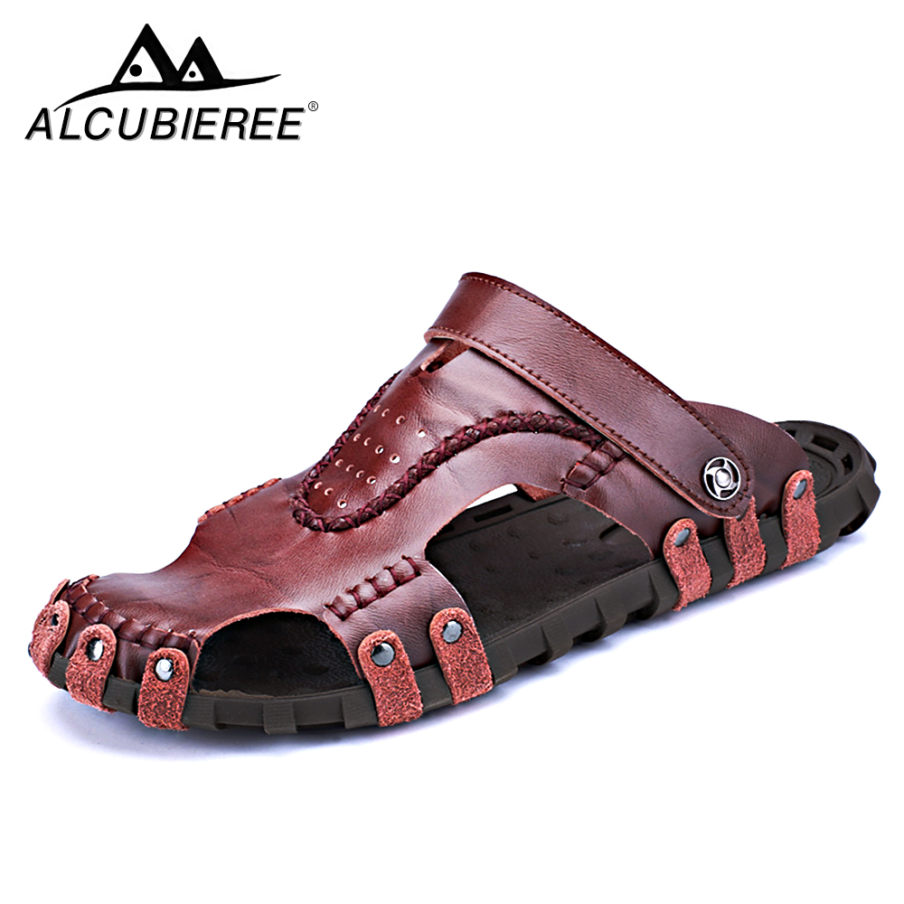 ALCUBIEREE Men Casual Shoes Sandals Comfortable Breather Sandals Brand for Men Casual Shoes Summer Leather Sport  for Men