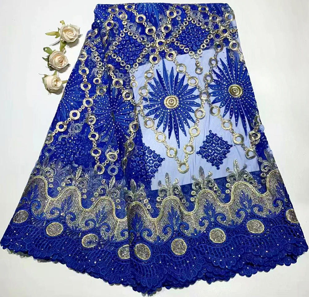 5 yards/lot 2019 haute qualité nigérian français dentelle africaine dentelle tissu pour robe de soirée pêche afrique femmes robe dentelle garniture