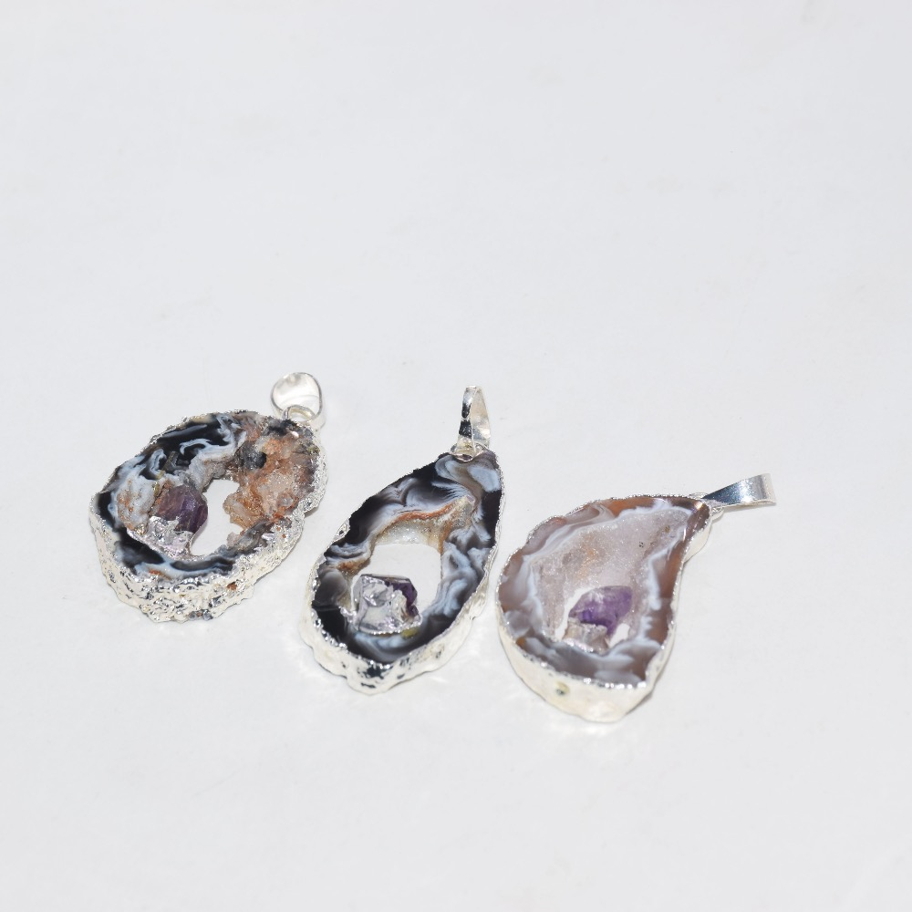 Natural Sparkling Titanium Druzy Amethyst Moonstone Pearl Handmade 925 silver plated Cluster Necklace U13014