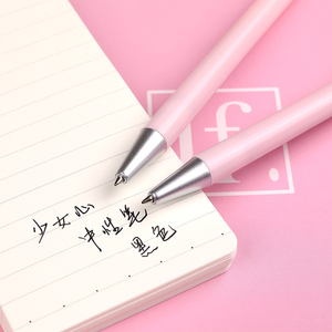 Image 5 - 36 pcs/Lot Pink heart gel pen Pink color body Press type writing signature pens Stationery Office supplies Canetas escolar F706