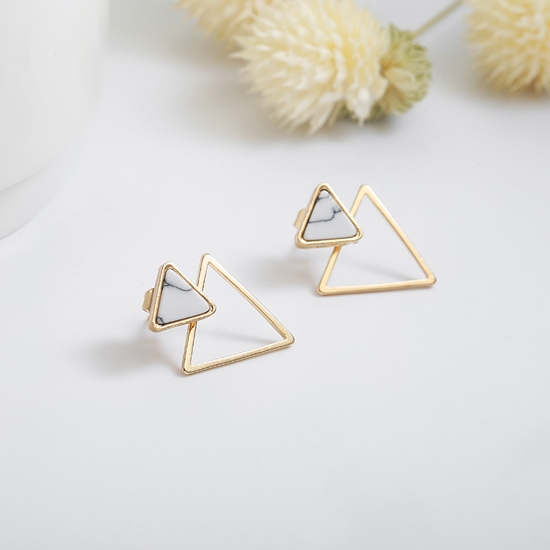 New Earrings Fashion Simple Stud Earrings Personality Trend Push-back Triangle Earrings Wholesale Jewelry Women's Earrings 3