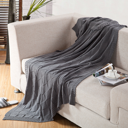 Full Size 180x200cm knitted Cotton blanketGrey Color Blankets100