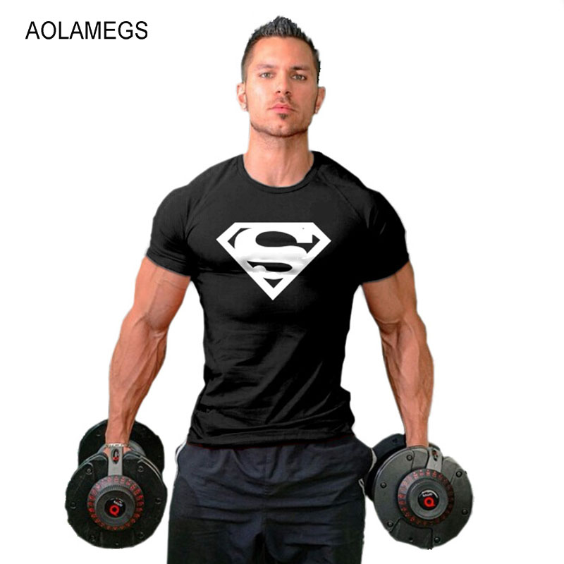 Aolamegs Superman T shirt Men Bodybuilding Fitness Tops Tee Muscle Mens Sportswear Tight T-shirts Homme Sporting Clothing
