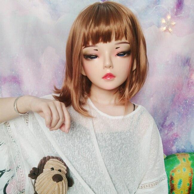 Kids Costumes & Accessories tian-02 female Sweet Girl Resin Half Head Kigurumi Mask With Bjd Eyes Cosplay Japanese Anime Role Lolita Mask Crossdress Doll Boys Costume Accessories