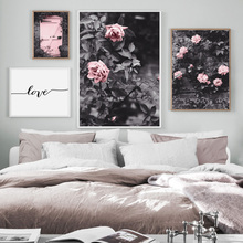 Pink Rose Flower Leaves Door Love Quotes Nordic Posters And Prints Wall Art Canvas Painting Pictures For Living Room Decor