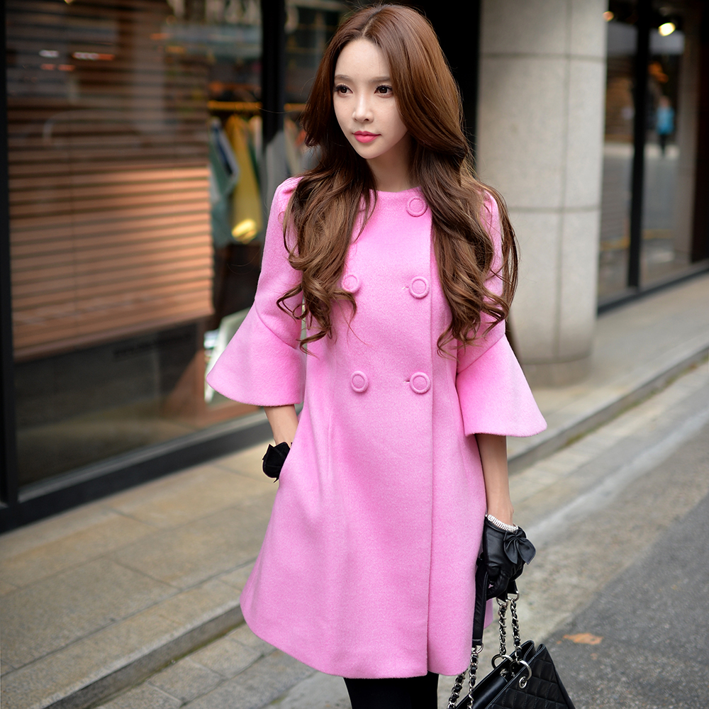 ᗑ】Dabuwawa cinco colores de gran tamaño abrigo de lana - a647