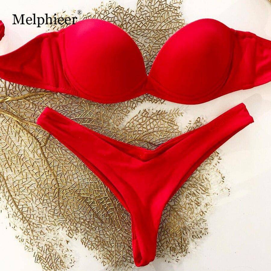 2019 Sexy Underwired Push Up Swimsuit Strapless Brazilian Bikinis Set Swimwear Women Red Bandage Bikini Female Swim Bathing Suit