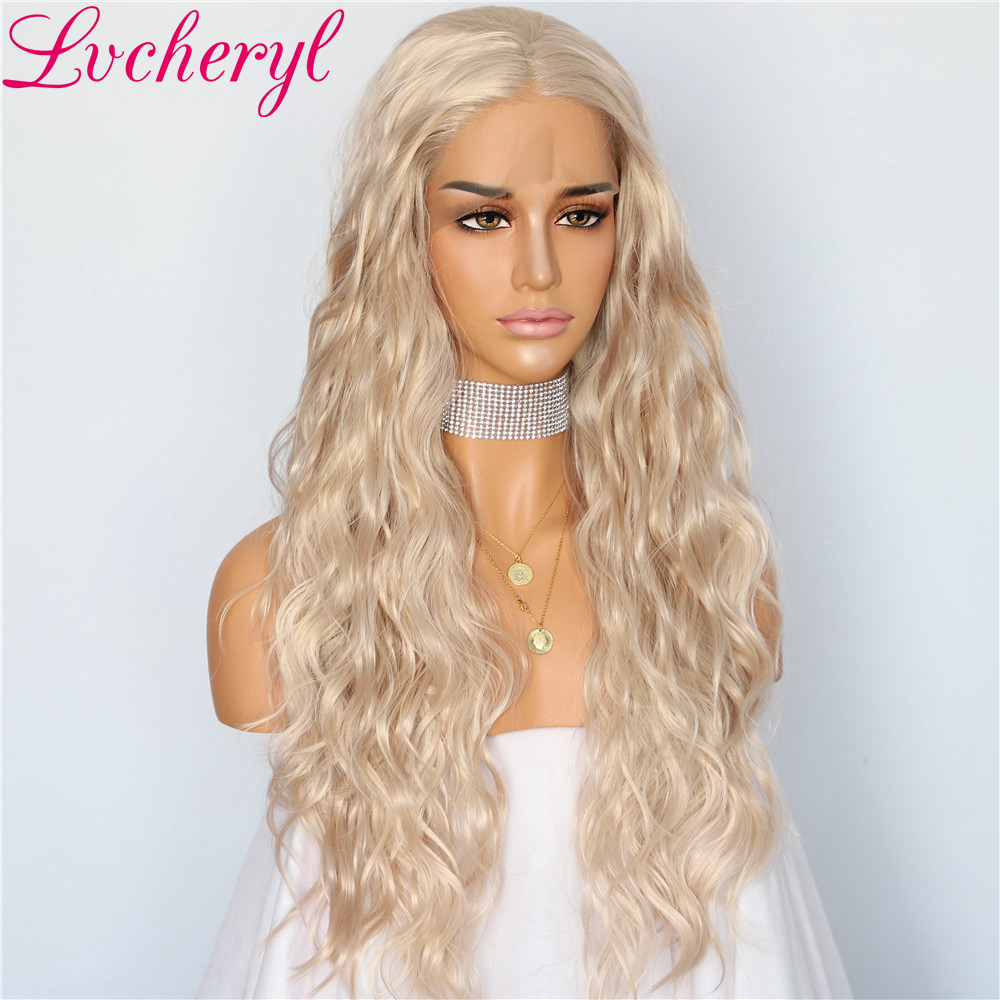 Lvcheryl Full Density Beige Blonde Color Water Wave Hair Glueless Synthetic Lace Front Wigs for Women