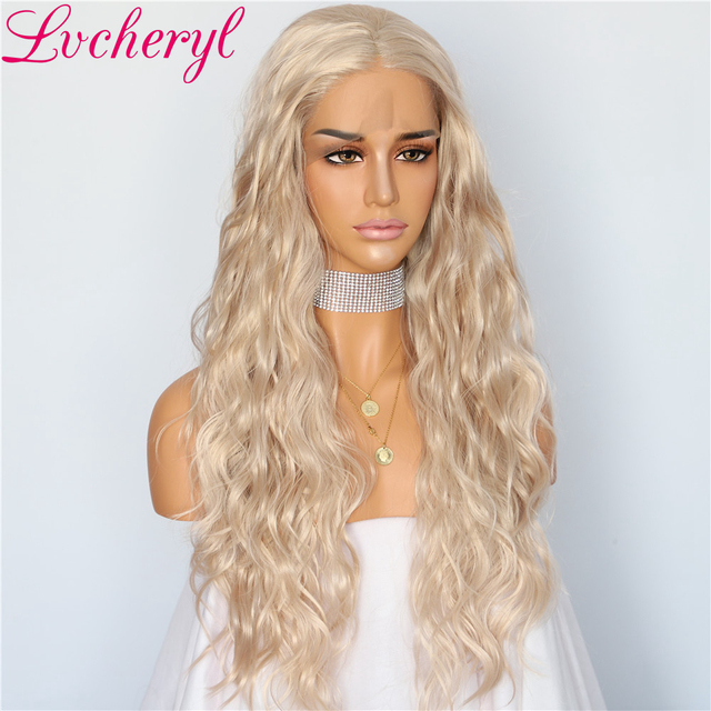 Lvcheryl Full Density Beige Blonde Color Water Wave Hair Glueless Synthetic Lace Front Wigs for Women Makeup Party Wigs