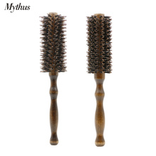 2 Size DIY Salon Hairdressing Brush Wood Round Boar Bristle Hair Curling Brush Antistatic Hairstyling Curly Comb For Hairdresser