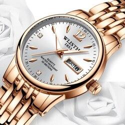 Wlisth relógio feminino relógio de aço tungstênio mulher relógios amantes presente rosa ouro chinês-calendário inglês relógio de quartzo à prova dwaterproof água