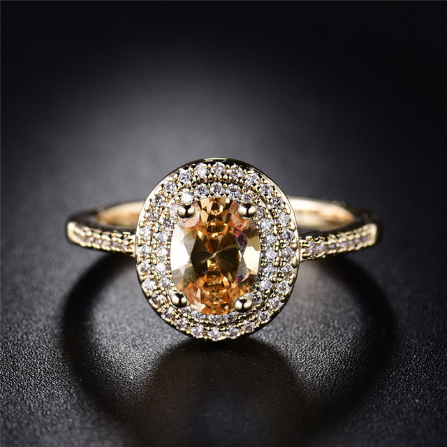 BUDONG 2017 Stylish Finger Ring for Women Gold Color Shiny Big Orange Oval Crystal Zirconia Luxury Wedding Jewelry XUR295