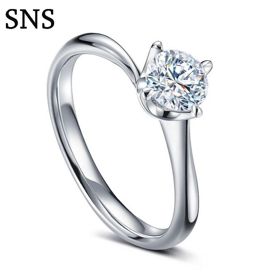 Natural Diamonds Ring Prong Setting Solid 14K Wohite Gold Diamonds Engagement Wedding Ring Fine Jewelry Women's diamonds fitness
