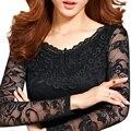 Nova moda feminina com decote em v recorte chiffon lace longo-luva de slim camisa feminina básica sexy tops primavera outono pullover clothing