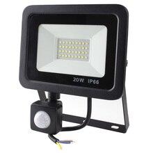 LED PIR Motion חיישן מתכוונן מבול אור 10W 20W 30W 50W Waterproof IP66 220V הארה גן זרקור חיצוני מנורת קיר