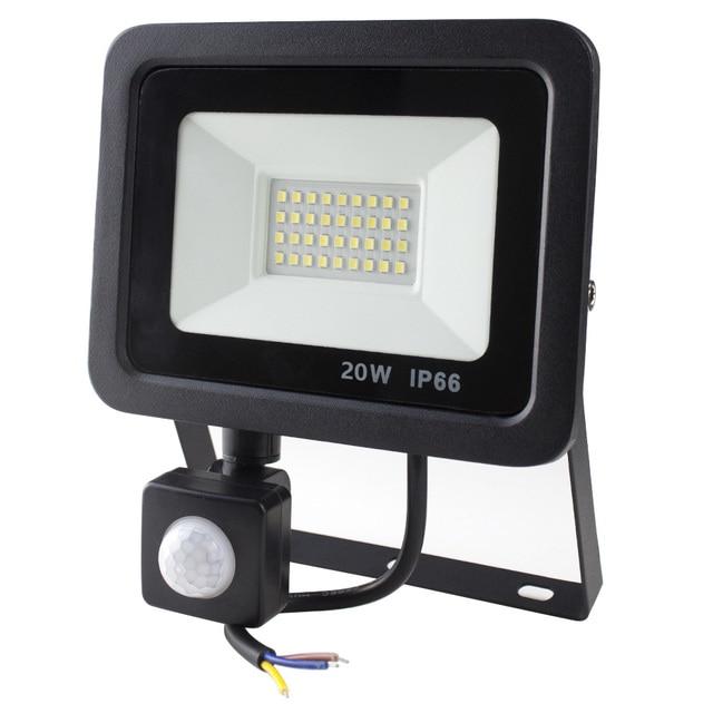 Led pir モーションセンサー調節可能なフラッドライト 10 ワット 20 ワット 30 ワット 50 ワット防水 IP66 220 v 投光器ガーデンスポットライト屋外壁ランプ