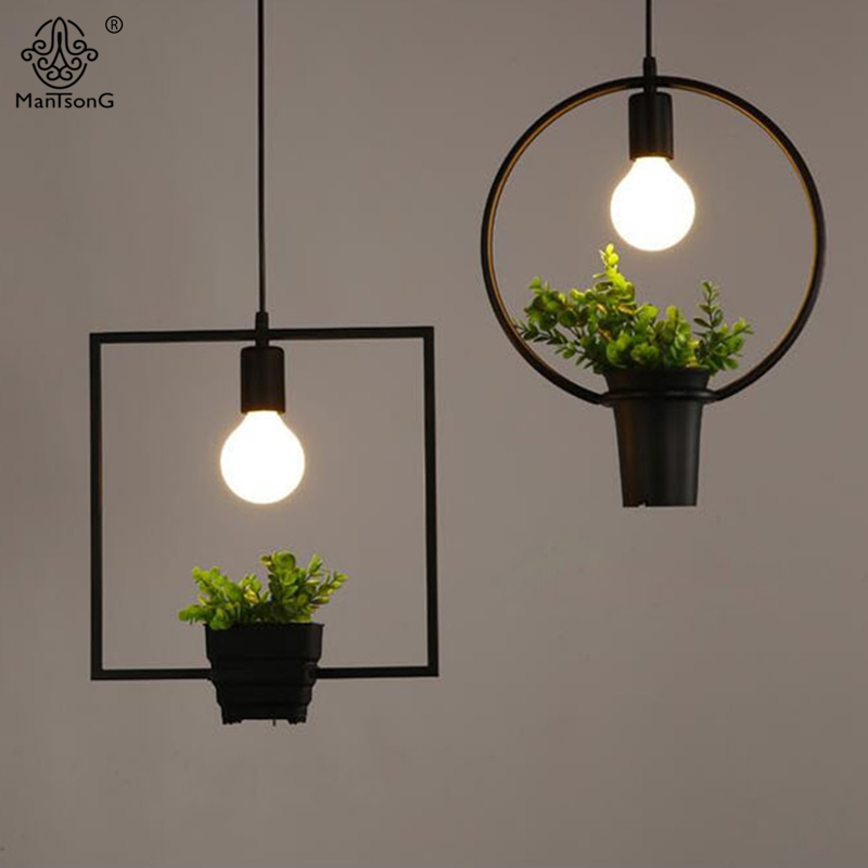 Hanging lamp geometric plants pot iron square round for Plante pendante
