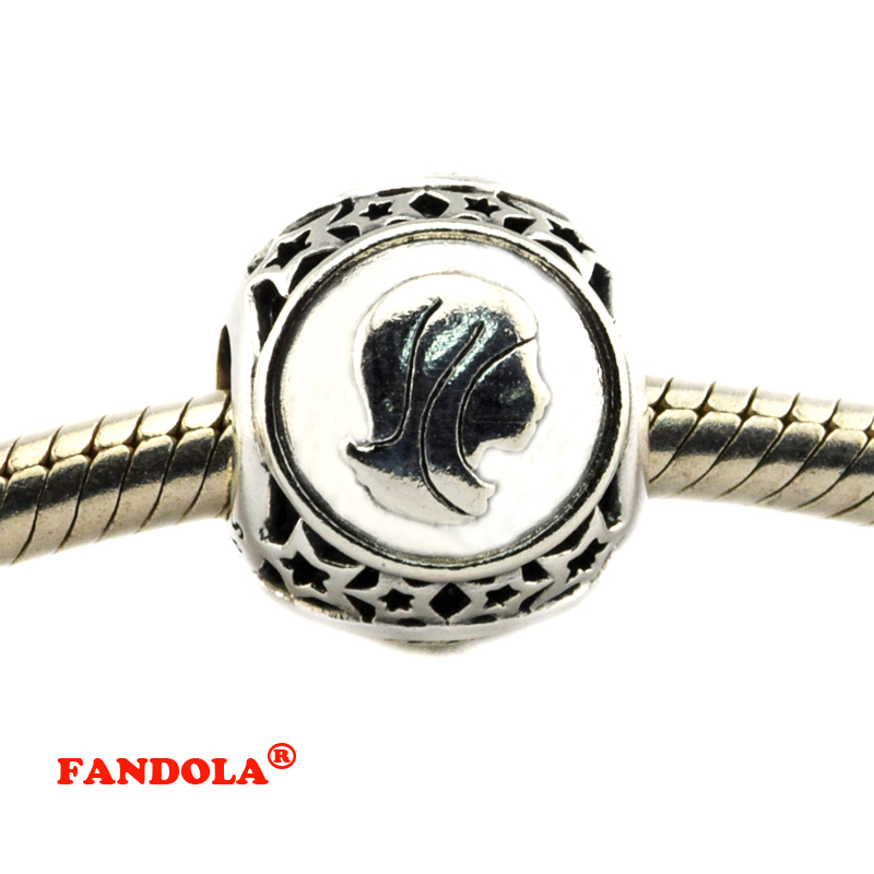 DIY Fits Pandora Bracelets Virgo Star Sign Beads 925 Sterling Silver Jewelry Charms for Women Free Shipping