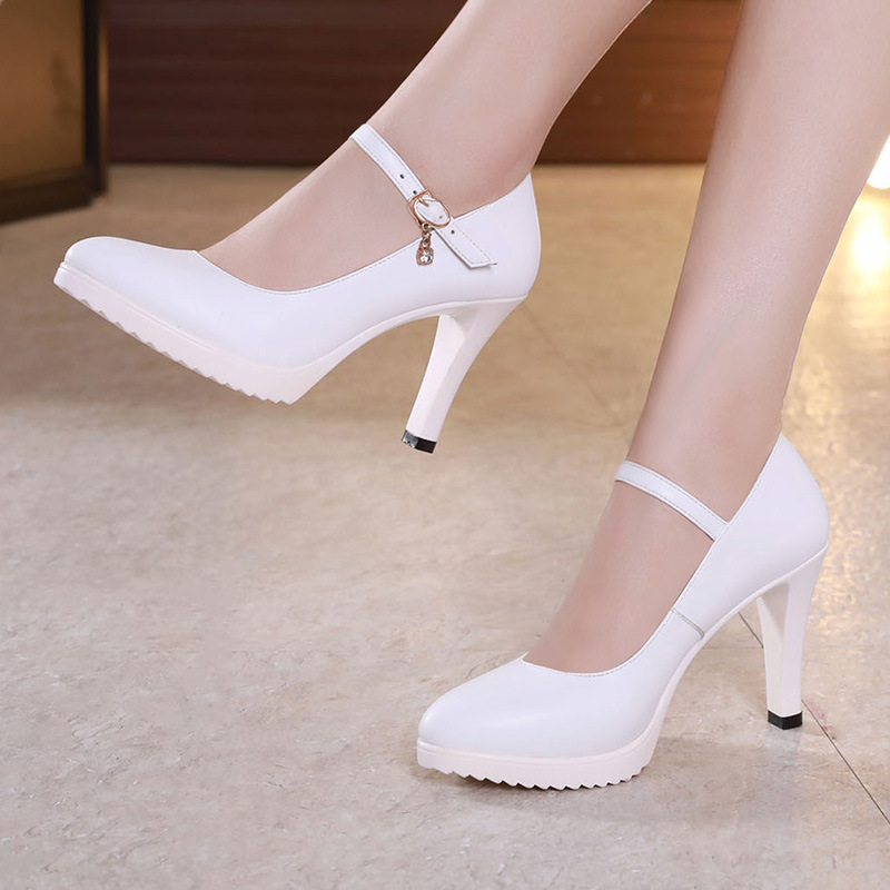 Block Heels Silver Wedding Shoes Women Pumps Platform 2019 Autumn High Heels Shoes Ladies Leather Office Shoe Big Size 42 43Block Heels Silver Wedding Shoes Women Pumps Platform 2019 Autumn High Heels Shoes Ladies Leather Office Shoe Big Size 42 43