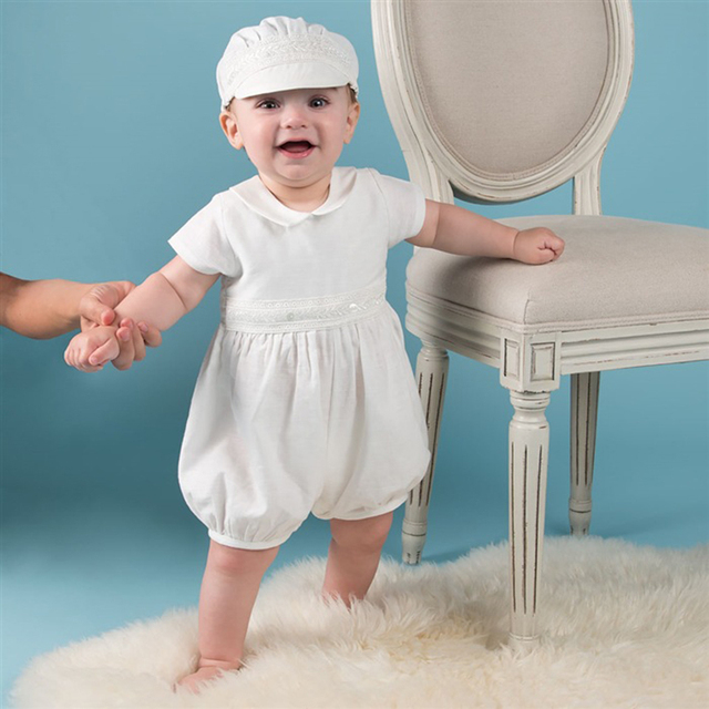 f88d458bd Baby Boy Christening Baptism Romper Suits White Satin Clothes with Hat  Newborn Baby Special Occasion Wear A015 Children Clothes