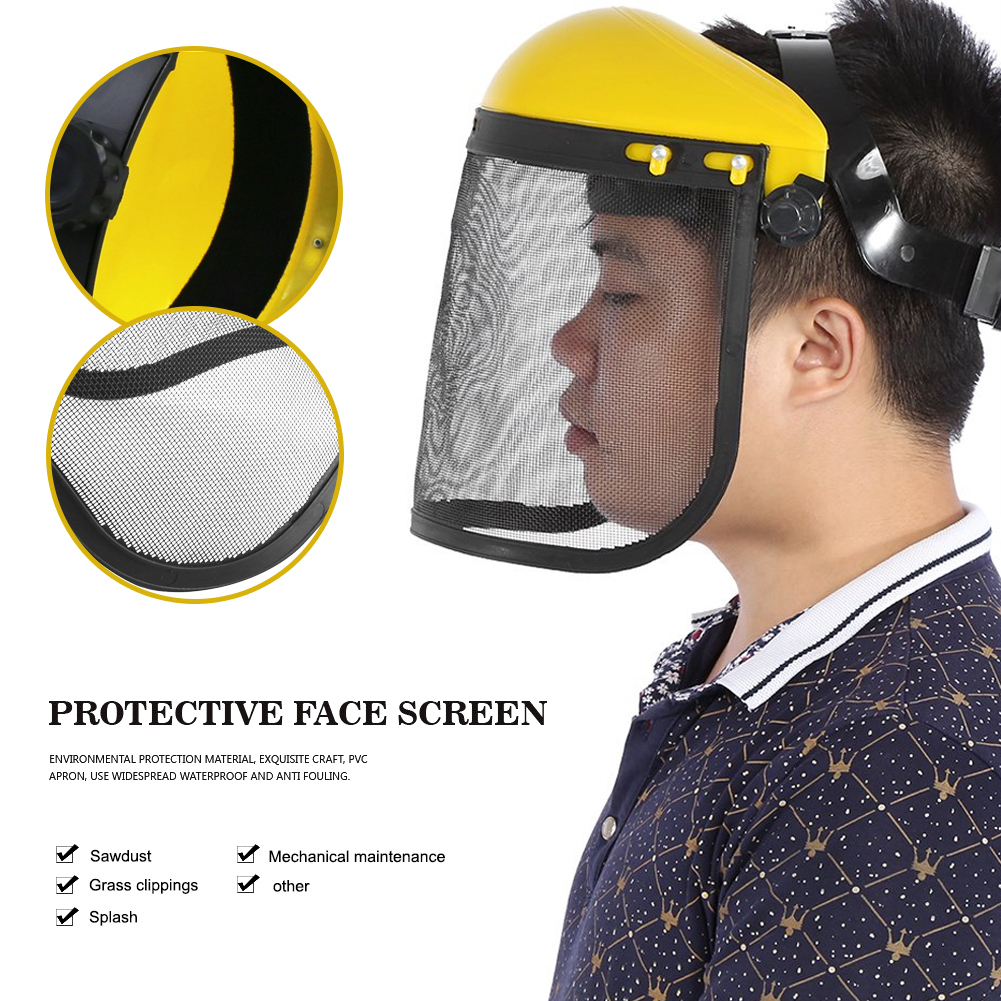 Industrial Full Face Shield Protection Splash Proof Safety Mask Adjustable Steel Mesh Helmet For Chainsaw Gardening Logging Mask(China)
