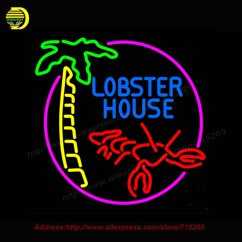 Lobster House With Lobster Neon Sign Bioshock Plasmids Glass Bulbs Handcrafted Recreation Home Room Iconic Lighted 24x24
