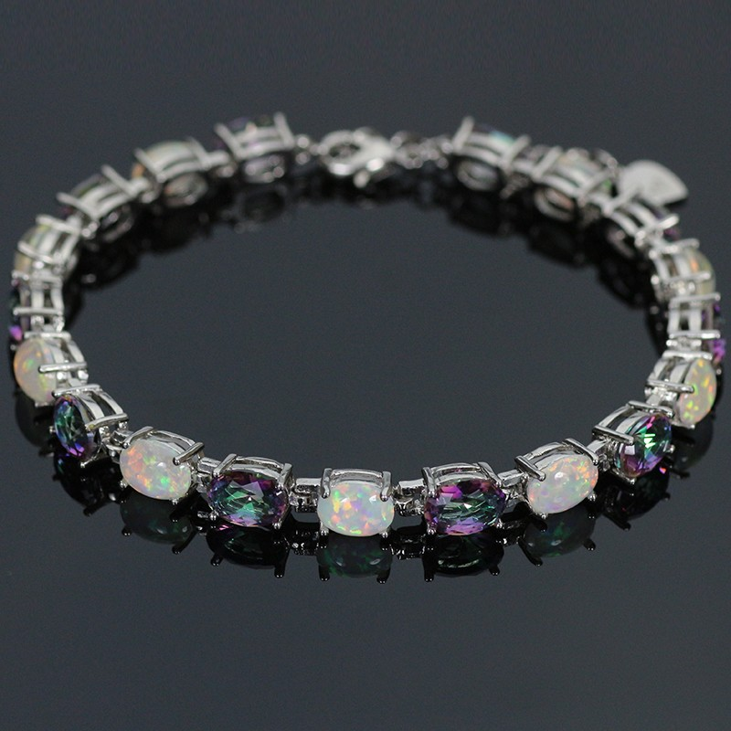 SZ0037 Trendy Precious Fire Opal Gem & Purple Crystal Silver Charm Bracelet For Women Elegant Jewelry Best Gift For Lovers
