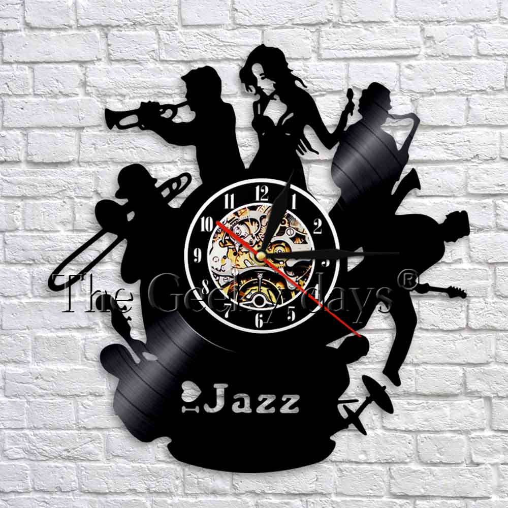 1piece Jazz Music Art Decoration 3d Wall Clock Vintage