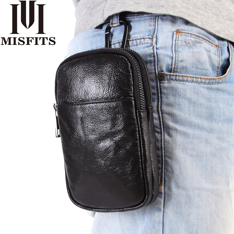 MISFITS Men Fashion Waist Packs Brand Genuine Leather Phone Waist Pouch Fanny Pack For Male Hip Bum Belt Bag Lanyard Cell Purse