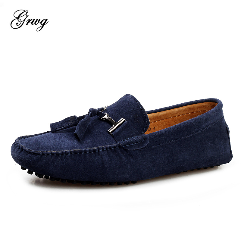 GRWG Brand Big Size Cow   Suede     Leather   Men Flats 2019 New Men Casual Shoes High Quality Men Loafers Moccasin Driving Shoes