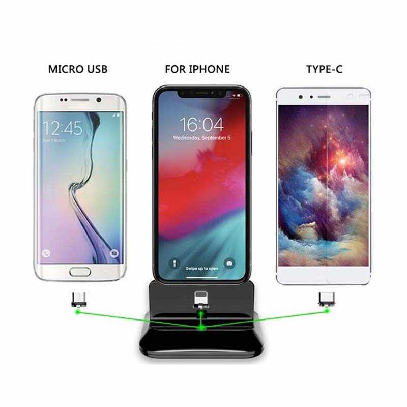 the latest a029d 63aec Romatlink Magnetic Charging Base Phone holder Stand For Iphone Android For  xiaomi 9 Phone Type-C Three-In-One Magnetic Charger