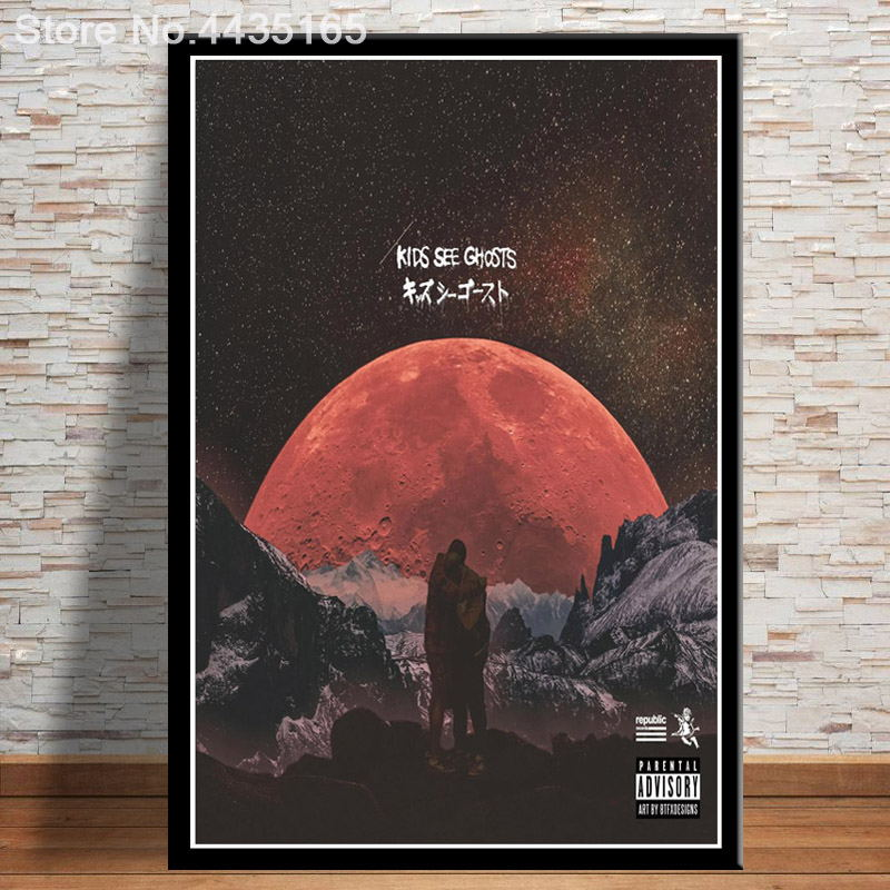 US $1 98 27% OFF|Kids See Ghosts Kanye West Poster Kid Cudi 2018 New Album  Posters and Prints Wall Art Living Room Modern Decoration-in Painting &