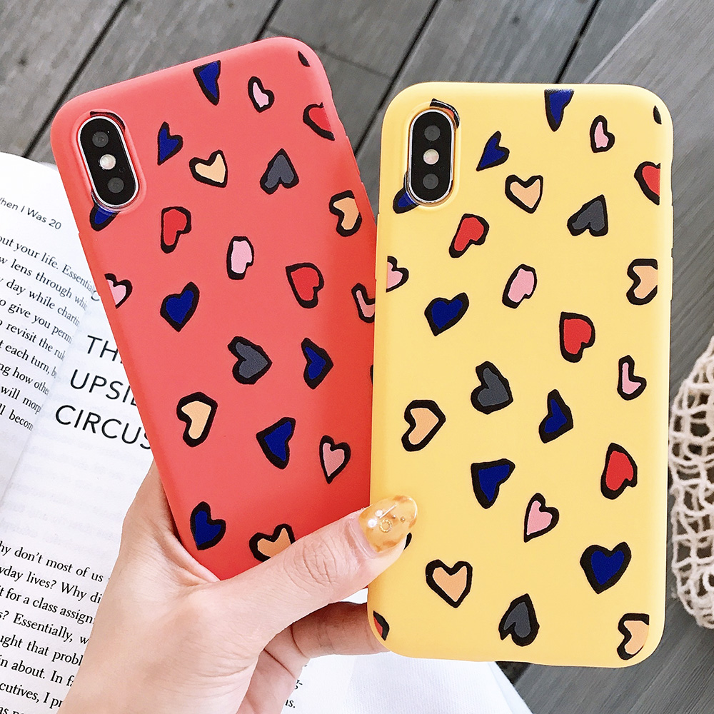 KIPX1116_7_JONSNOW Phone Case for iPhone X XS XR XS Max 6 6S 7 8 Plus Painted Heart Leopard Style Frosted Soft Silicone Cover Cases Capa Fundas