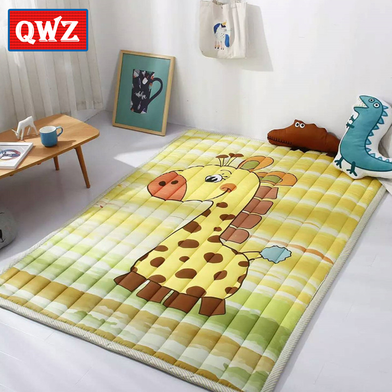 QWZ Mats Folding Baby Play Mats 140X195CM Cotton Carpet Children Game Blanket Non-slip Machine Washable Rugs For Kids Gifts woven vinyl non slip insulation placemat washable table mats