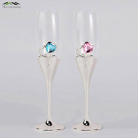 Silver Plated Champagne Glass Flutes With Heart Diamond Shaped Red Wine Glasses For Wedding Party Brandy