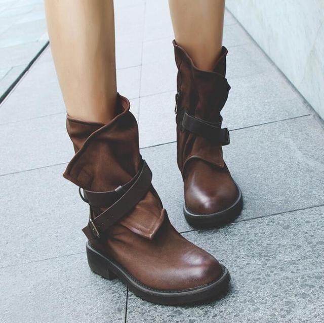 0dc606b51 2018 Mulheres Do Vintage Da Moda Meados de Bezerro Botas de Couro Macio  Sapatos Femininos Outono