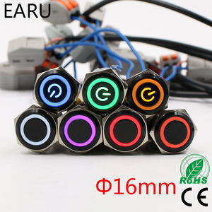 16 мм алюминиевый черный светодиодный светильник водонепроницаемый металлический кнопочный переключатель мгновенная фиксация светодиодн...