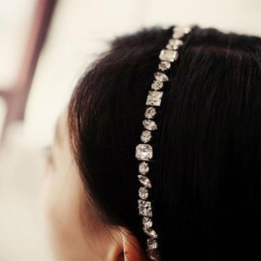 Vintage hair accessory holder - Vintage Princess Style Diamonds Black Elastic Headband Bride Wedding Holder Hair Decoration Head Ring Band Diy Tiara Headwear In Hair Accessories From