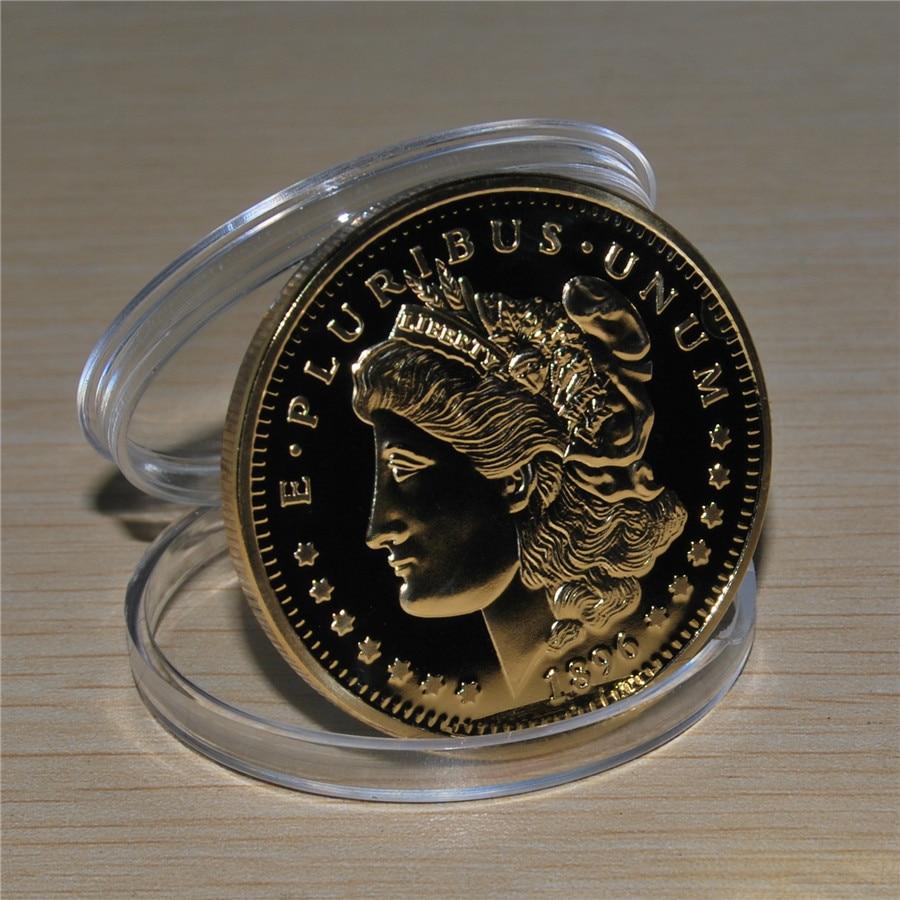 1896 Gold Plated Morgan Dollar Souvenir Coin (2)