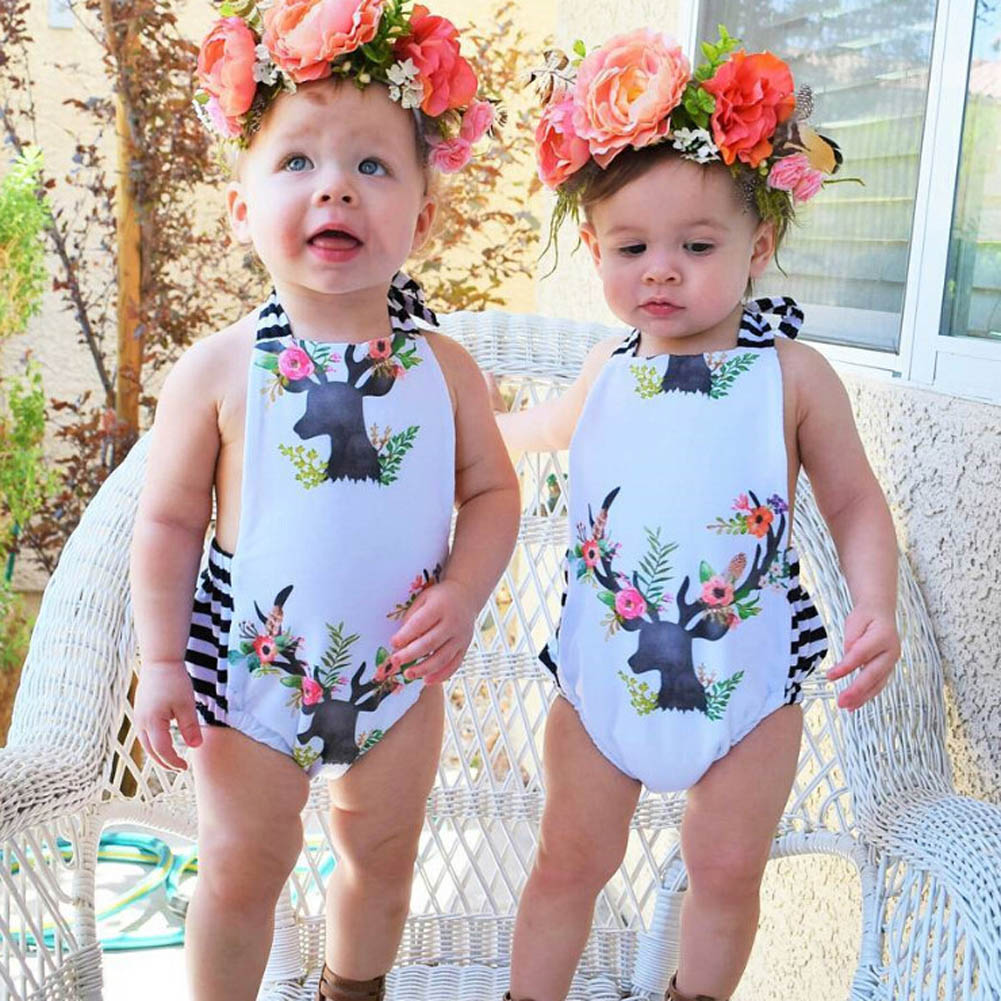 New Fashionable Summer Baby Infant Toddler Girls Sleeveless Deer Print Striped Rompers Jumpsuit Baby Cloth Outfit