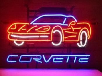 Chevrolet Corvette Auto Car Glass Neon Light Sign Beer Bar