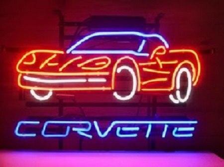 Chevrolet Corvette Auto Car Glass Neon Light Sign Beer Bar