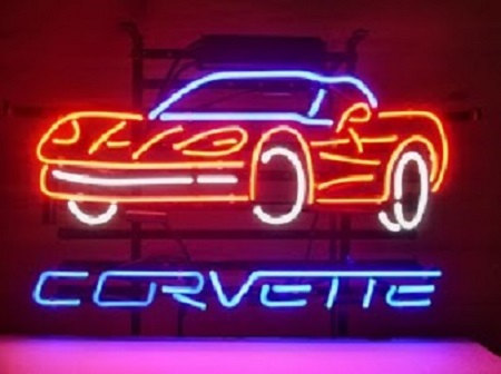 Chevrolet Corvette Auto Car Glass Neon Light Sign Beer Bar image