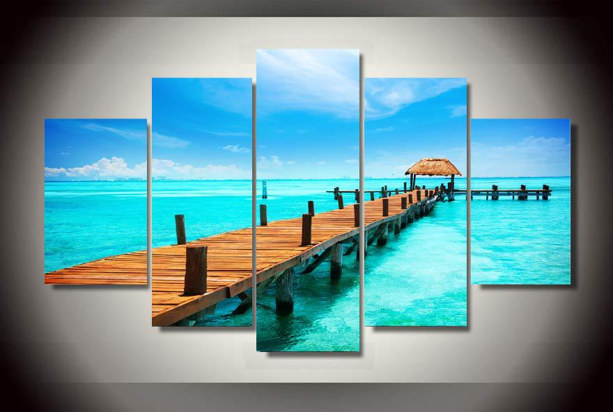 Framed Printed tropical paradise sea pier Group Painting childrens room decor print poster picture canvas Free shipping/jj-1692