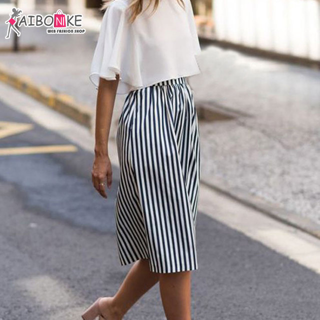 Bekend Aibonike vrouw geplooide midi rok hoge taille een line zwart wit  TH63