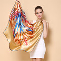 [Ode To Joy]Luxury Brand 100% Silk Women Scarf Square Scarves Silk print Scarf & Wraps Hijab for Spring summer 90*90cm