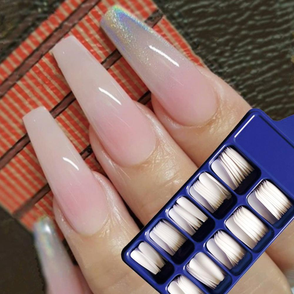 100Pcs Acrylic False Fake Nail Art Fingernail Oval Professional Full Cover Fasle Nail Art Fingernail Full Color Card Polish